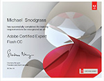 Adobe Certified Expert Flash CC cerificate